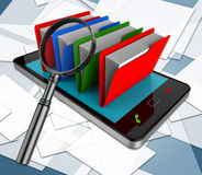 Smartphone Files Means Fact Business And Information. Smartphone Files Showing Mobile Bytes And Organized Stock Photos
