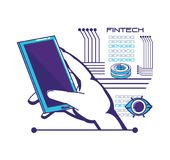 Smartphone with financial technology icons. Vector illustration design Royalty Free Stock Images