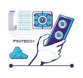 Smartphone with financial technology icons. Vector illustration design Stock Photo