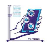 Smartphone with financial technology icons. Vector illustration design Stock Photography