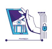 Smartphone with financial technology icons. Vector illustration design Royalty Free Stock Photo