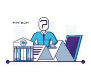 Smartphone with financial technology icons. Vector illustration design Stock Images