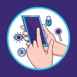 Smartphone with financial technology icons. Vector illustration design Stock Image