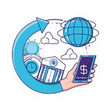 Smartphone with financial technology icons. Vector illustration design Royalty Free Stock Image