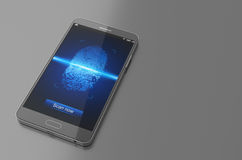 Smartphone with finger scan. 3D Illustration. Smartphone with finger scan on grey background Royalty Free Stock Photos