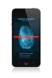 Smartphone with fingerprint application. High quality illustration of  modern smartphone with process of scanning fingerprint on a screen.  on white background Royalty Free Stock Photography