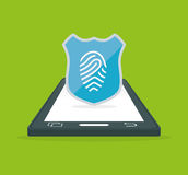 Smartphone fingerprint password internet security Stock Photo