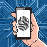 Smartphone fingerprint security. Smartphone in Hand with black finger print on white screen and electronics scheme background. Elements of identification systems Stock Photography