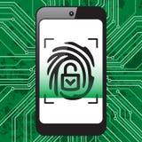 Smartphone fingerprint security Stock Photos