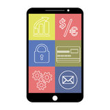 Smartphone with flat app icons, on white background Royalty Free Stock Image