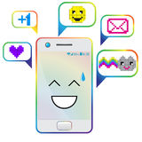 Smartphone Flat Designs with cute cartoon faces and massages. Royalty Free Stock Photos