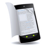 Smartphone With Flipping Book Royalty Free Stock Images