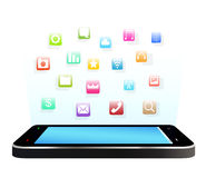 Smartphone with floating applications icon Stock Photography