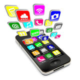 Smartphone With Flying Apps Stock Photo