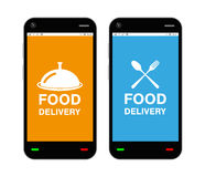 Smartphone with food delivery application logo on screen stock illustration