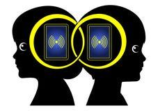 Smartphone-Freundschaft lizenzfreie abbildung