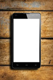 Smartphone Frontal White Screen Wooden Table Royalty Free Stock Photos
