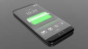 Smartphone with full battery indicator on screen Stock Image