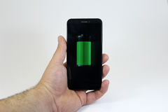 Smartphone with full battery Royalty Free Stock Images