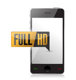 Smartphone with Full HD. High definition button. Royalty Free Stock Photo