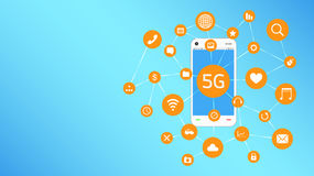Smartphone and 5G with apps icon floating Stock Images