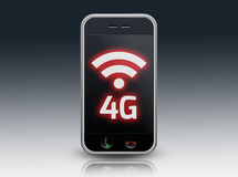 Smartphone 4G LTE. Smartphone with 4G LTE wording stock illustration