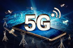 Smartphone with 5G sign on the screen laying down surrounded by high speed network data transfer nodes. Blurry closeup shot. Future of fast internet concept royalty free stock image
