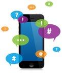 Smartphone gadki przesyłanie wiadomości Zdjęcie Royalty Free