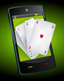 Smartphone Gambling - Poker Aces Royalty Free Stock Photography