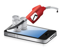 Smartphone with a gas pump nozzle Stock Images