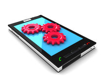 Smartphone with gears Royalty Free Stock Image