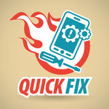Smartphone, gears and screwdriver, fireball. Mobile phone repair. Vector illustration Royalty Free Stock Photos