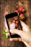 Smartphone geschotene voedselfoto Stock Afbeelding