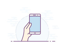 Smartphone gesture icon. Empty smartphone screen for your icon. Vector icon for a mobile app user interface or manual. Hand holding smartphone. Vector Royalty Free Stock Image