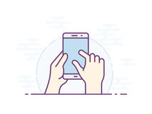 Smartphone gesture icon. Touch screen zoom gesture icon for smartphone. Vector icon for a mobile app user interface or manual. Smartphone screen with gesture Stock Photography
