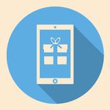 Smartphone with gift box icon flat design with long shadow Stock Photography