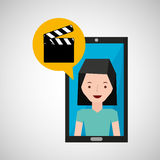 Smartphone girl cartoon clapper movie media. Vector illustration eps 10 Royalty Free Stock Photos