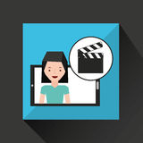 Smartphone girl cartoon clapper movie media. Vector illustration eps 10 Stock Photography