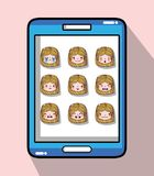 Smartphone with girl head emotion faces. Vector illustration Stock Image
