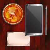 Smartphone, glass of whiskey, business card Royalty Free Stock Photos