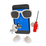 Smartphone with glasses Royalty Free Stock Photography