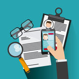 Smartphone glasses  lupe businessman cv document icon. Vector gr. Smartphone glasses  lupe businessman cv document icon. Company rosource design. colorful and Stock Photos