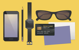 Smartphone, glasses, smartphone, smartwatch. Business glamorous objects, in black and purple Royalty Free Stock Image