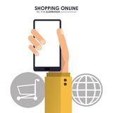 Smartphone, global and shopping cart. Shopping online. Vector gr Royalty Free Stock Image