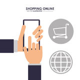 Smartphone, global and shopping cart. Shopping online. Vector gr Royalty Free Stock Images
