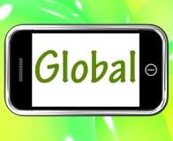 Smartphone globale mostra universalmente o attraverso The Globe Immagini Stock
