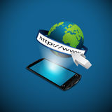 Smartphone with globe and address bar. 3d illustration Stock Photos