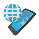Smartphone with globe cartoon icon Stock Photos