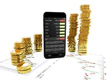 Smartphone and gold coins on business-background 3d illustratio Stock Photos