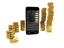 Smartphone and gold coins on white background 3d illustration. Royalty Free Stock Photography